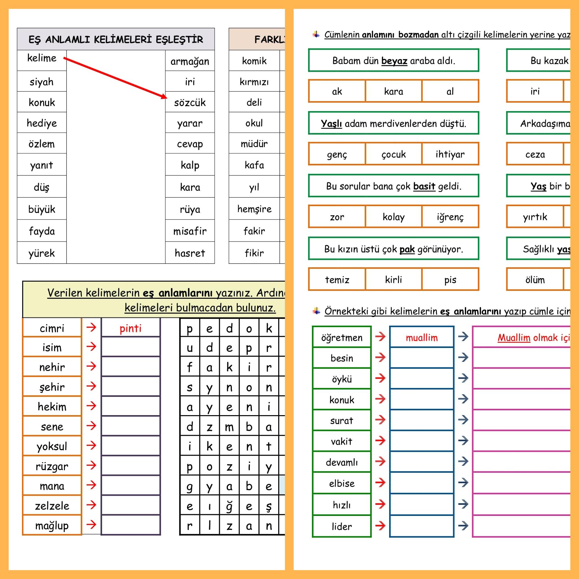 Eş Anlamlı Kelimeler Etkinliği (2 Sayfa)