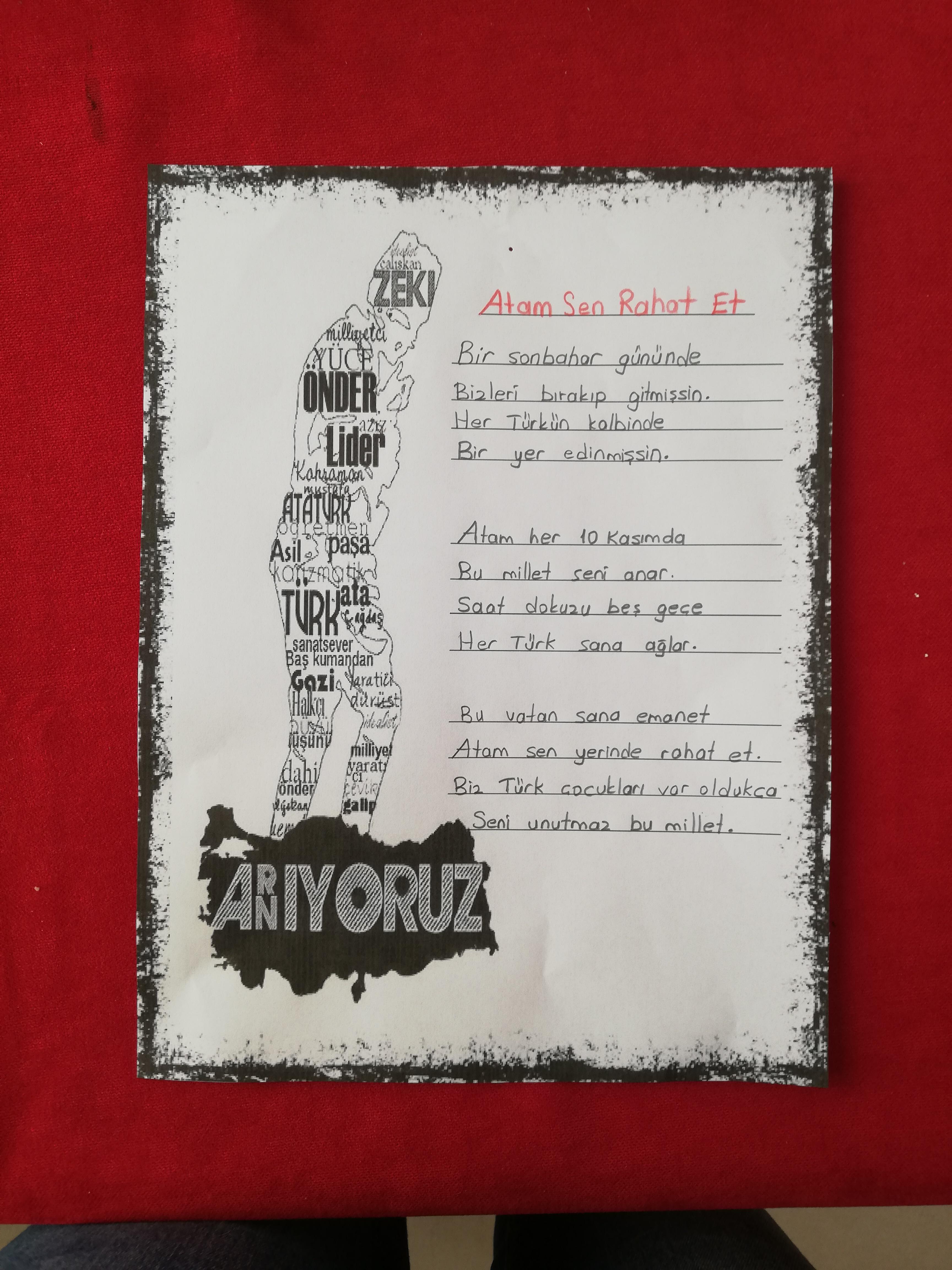 Atatürk Haftası şiir yazma şablonu