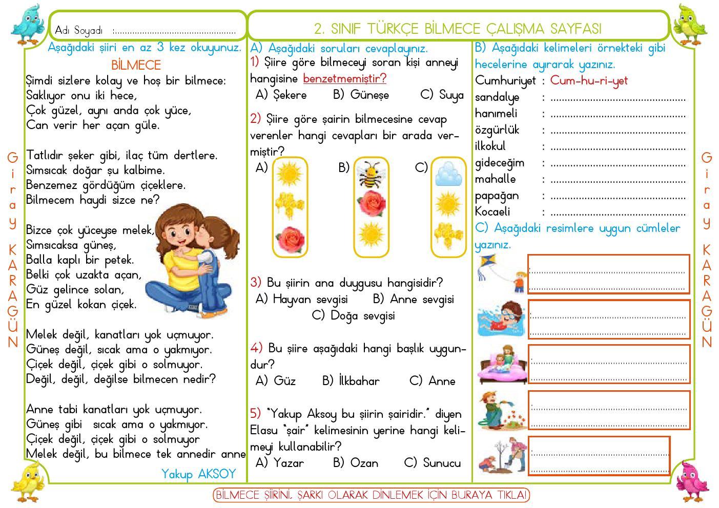 2. Sınıf Türkçe Bilmece Çalışma Sayfası (Telefon,tablette yazılabilir)