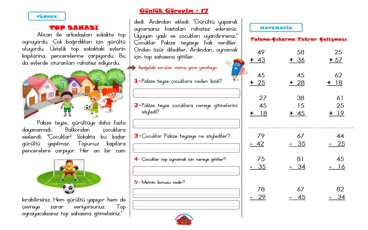 Günlük Görevim-17 TOP SAHASI METNİ 5N1K-TOPLAMA ve ÇIKARMA İŞLEMLERİ