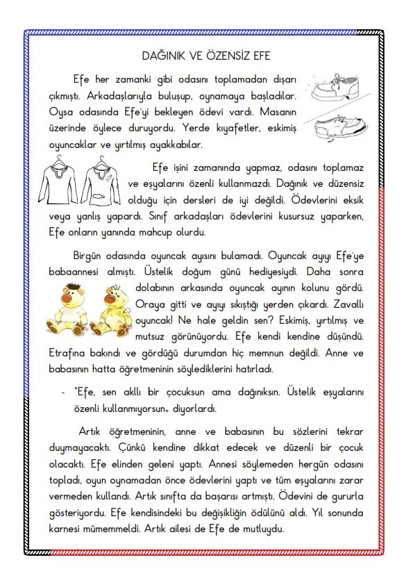 Okuma Anlama Çalışması 1 - Dağınık Efe