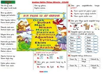 Uzaktan Eğitim Türkçe Görevim - 12 Ay Şiiri  Test  1.ve 2.sınıf