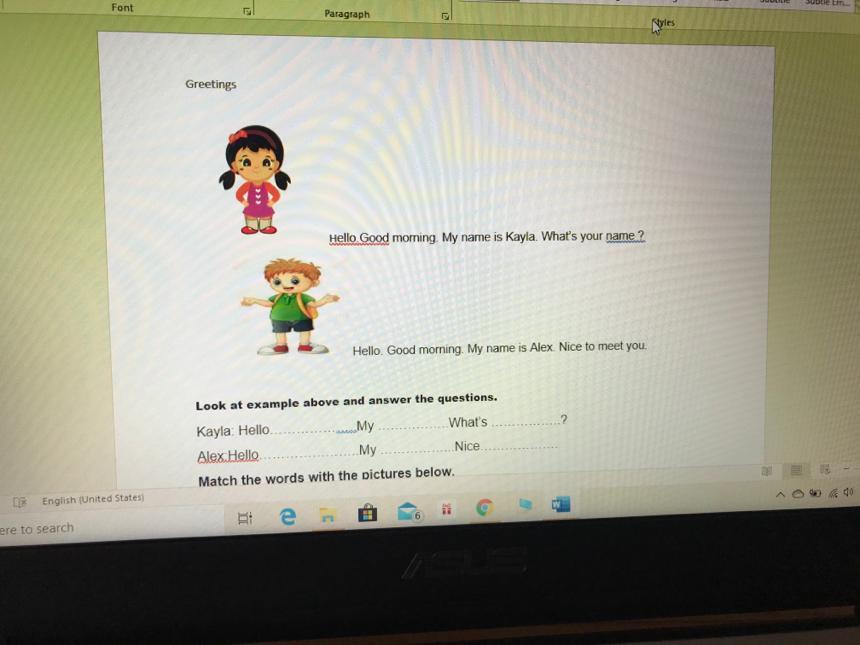 2. Sınıf 2. Ünite Selamlaşma(Friends/Greetings) Çalışma Kağıdı