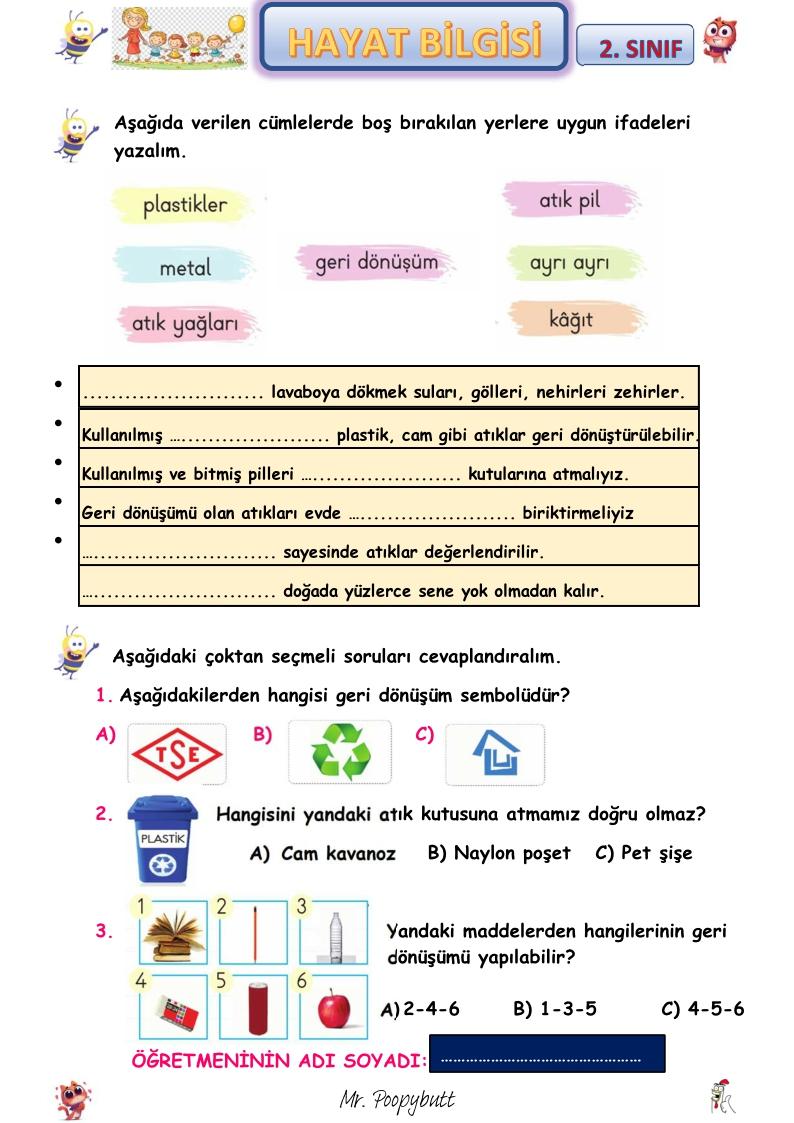 HAYAT BİLGİSİ 'GERİ DÖNÜŞÜM' ÇALIŞMASI (ETKİLEŞİMLİ PDF FORMATINDA)