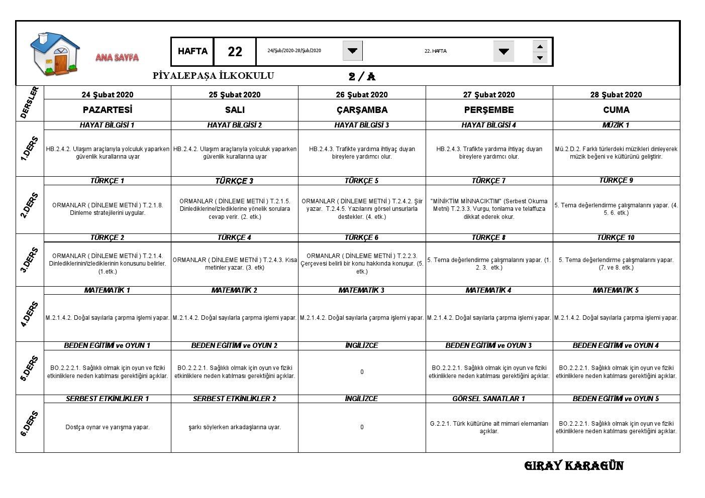 2. Sınıflar 22. Hafta Sınıf Defteri ( 24-28 Şubat 2020 )