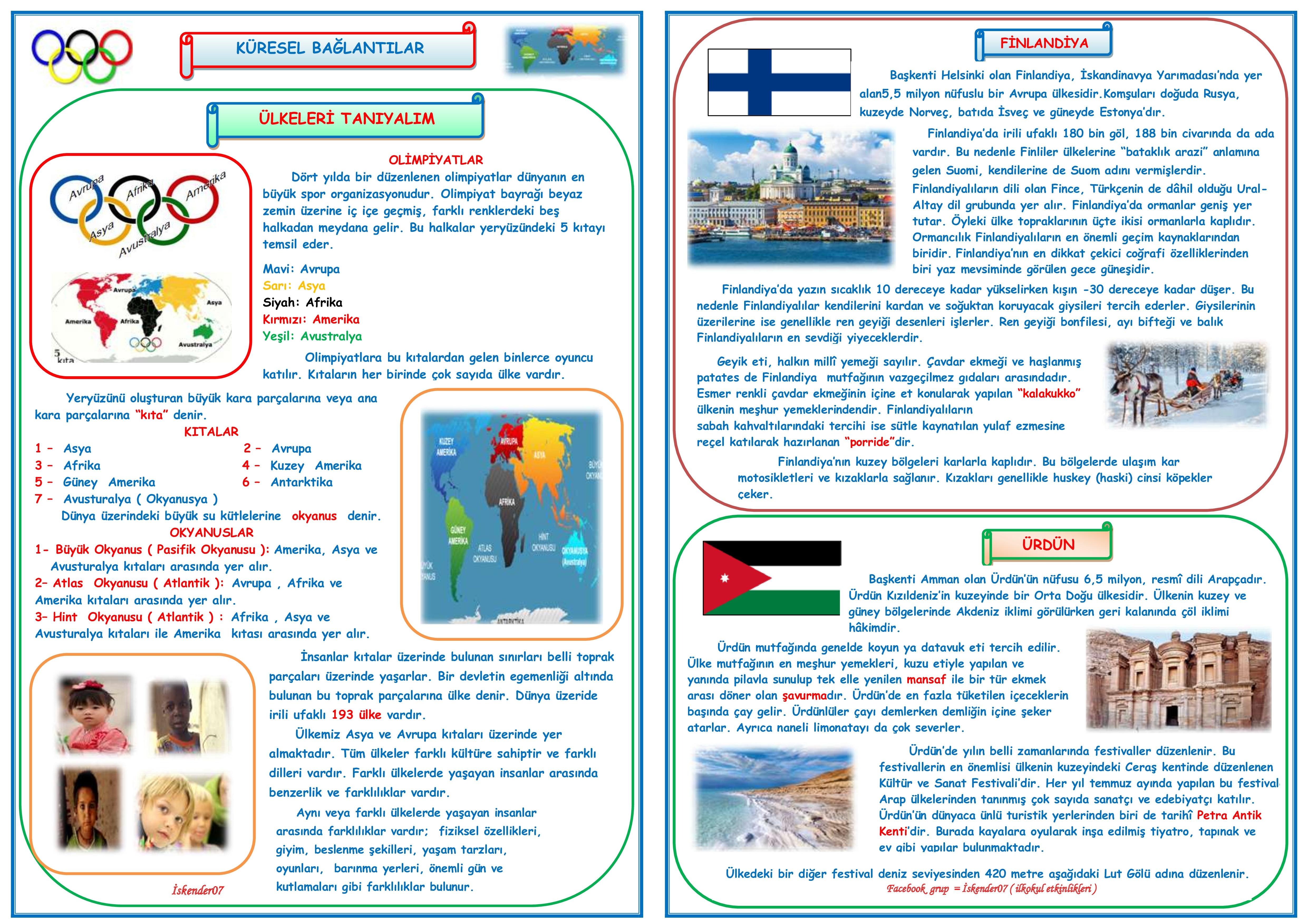 4.SINIF SOSYAL BİLGİLER KÜRESEL BAĞLANTILAR  (5 SAYFA)