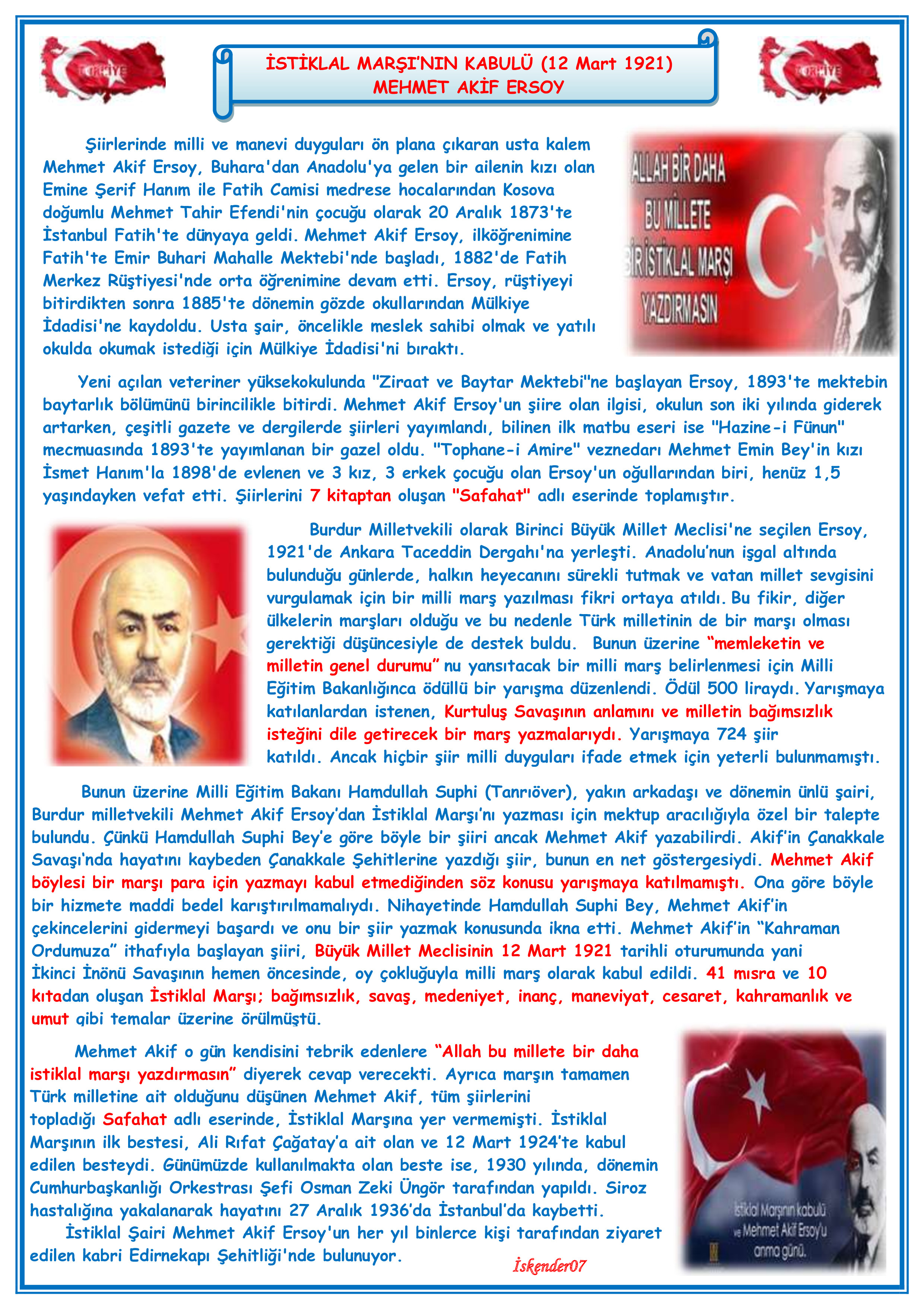 İSTİKLAL MARŞI'NIN KABULÜ - MEHMET AKİF ERSOY METİN ÇALIŞMASI