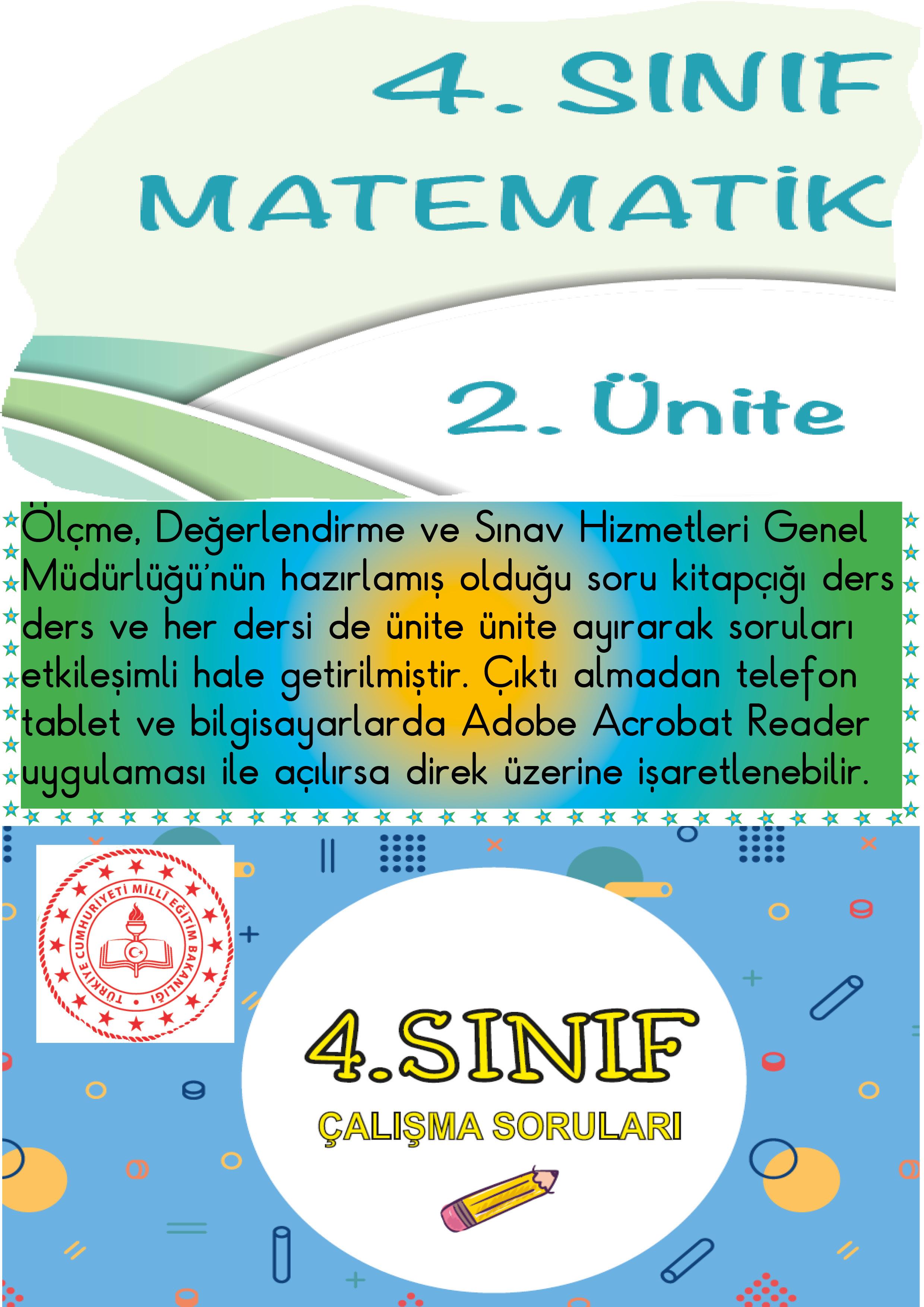 ETKİLEŞİMLİ 4.SINIF MATEMATİK 2.ÜNİTE MEB ÖDSGM ÇALIŞMA SORULARI