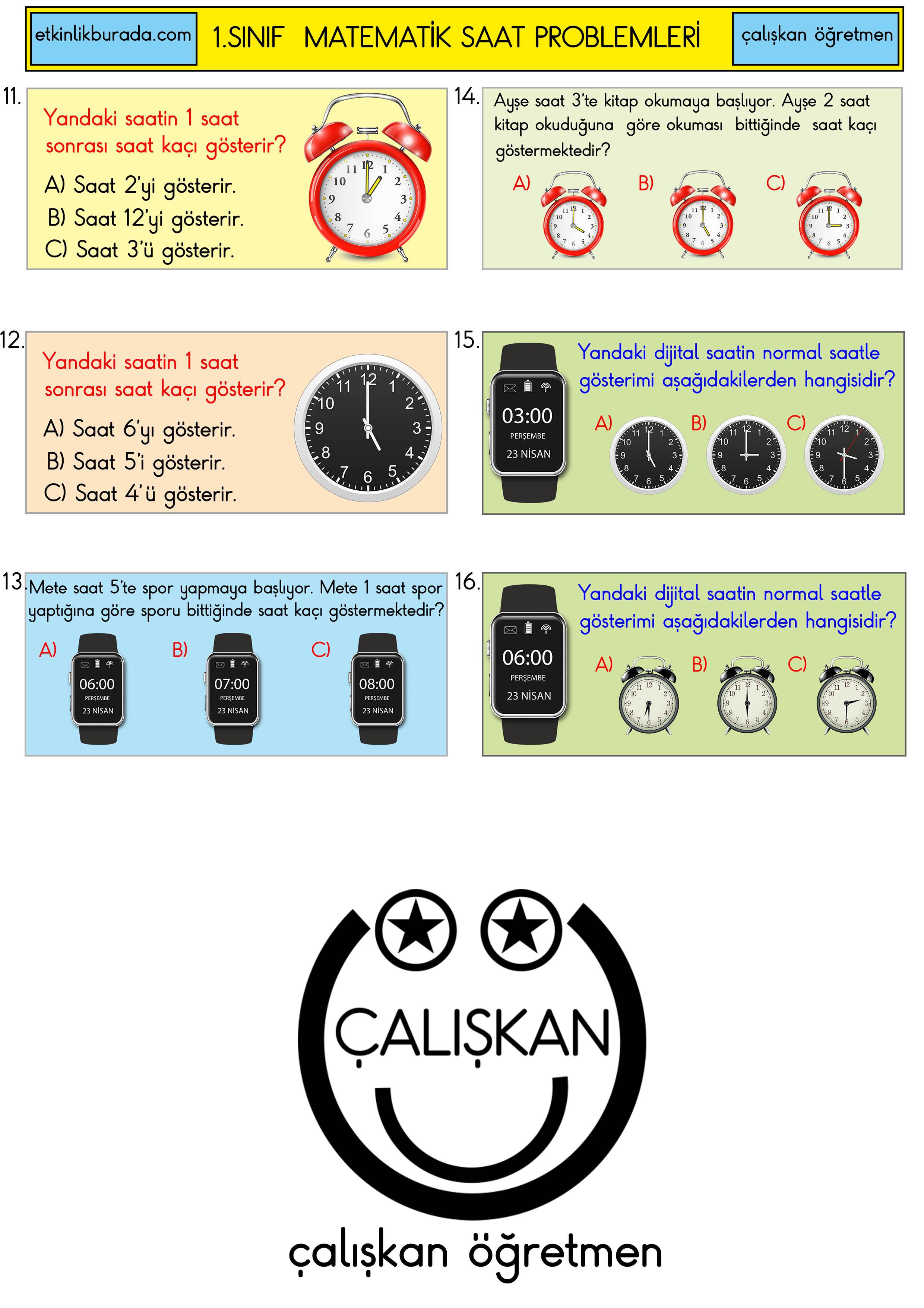 1.Sınıf Saat Değerlendirme Test