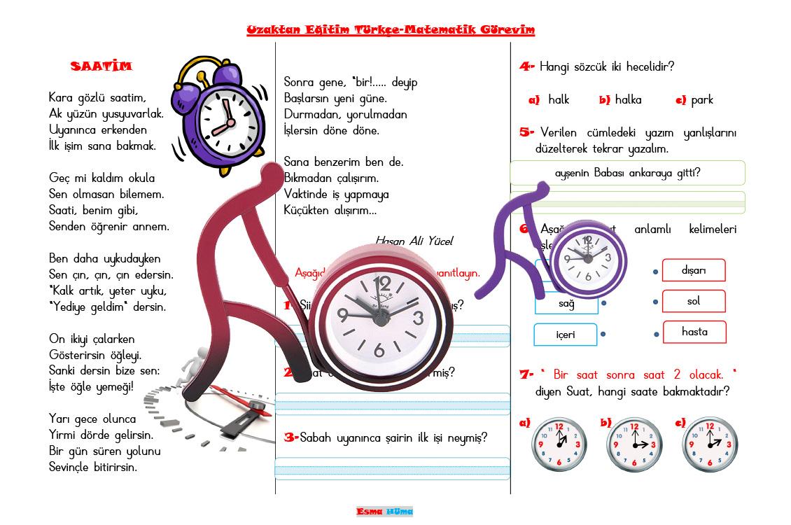 Uzaktan Eğitim Türkçe - Matematik Görevim Saatim Şiiri 1.ve 2. sınıf