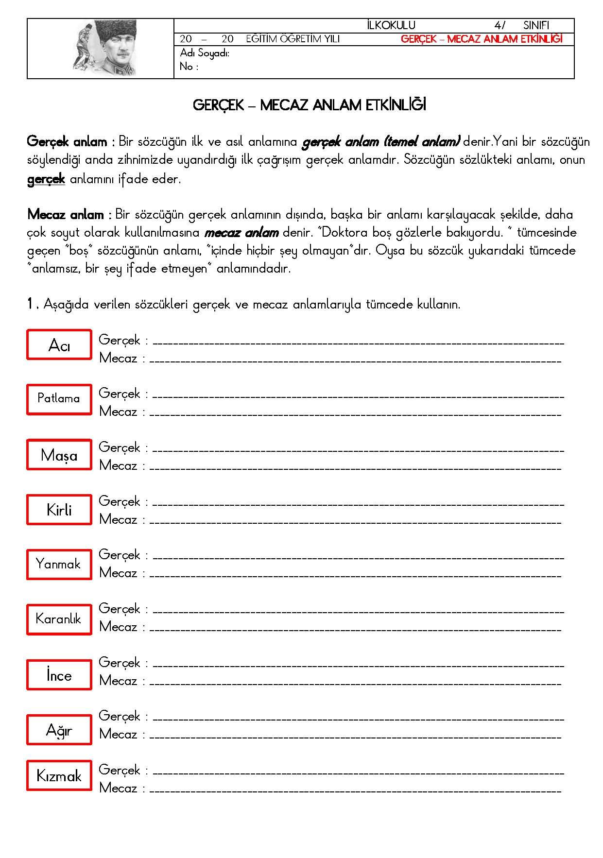 4. Sınıf Türkçe Gerçek ve Mecaz Anlam Etkinliği