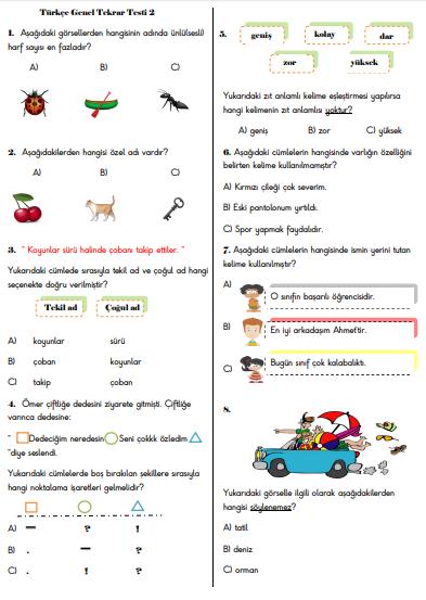 Türkçe Genel Tekrar Testi 2