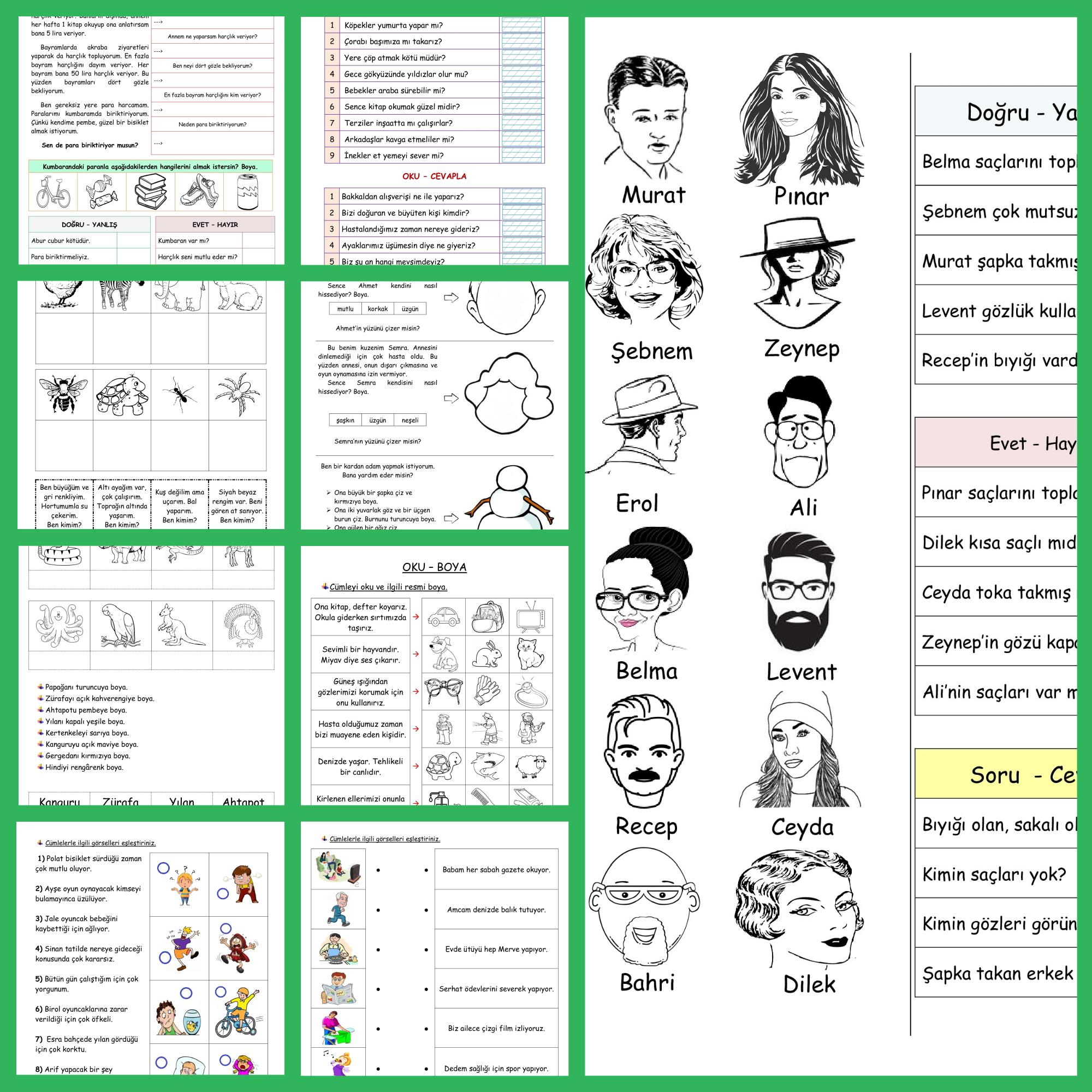 16 Sayfa Okuma Anlama Etkinliği (Paket-2)