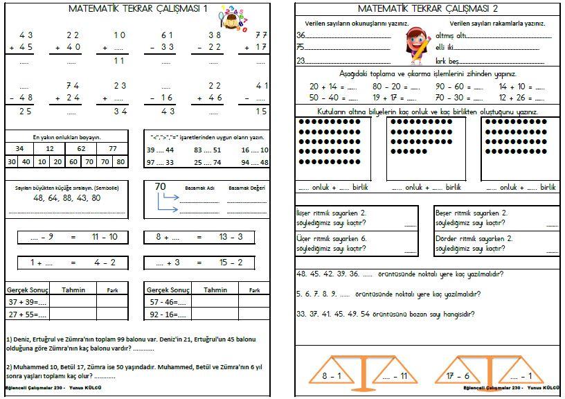 2. Sınıf Eğlenceli Çalışmalar 230