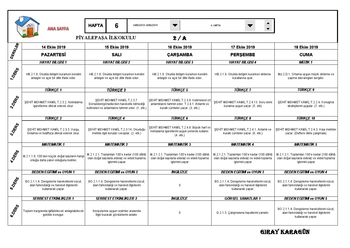 2. Sınıflar 6. Hafta Sınıf Defteri (14-18 Ekim 2019)