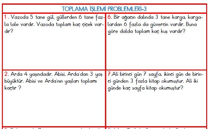 TOPLAMA İŞLEMİ PROBLEMLERİ-3