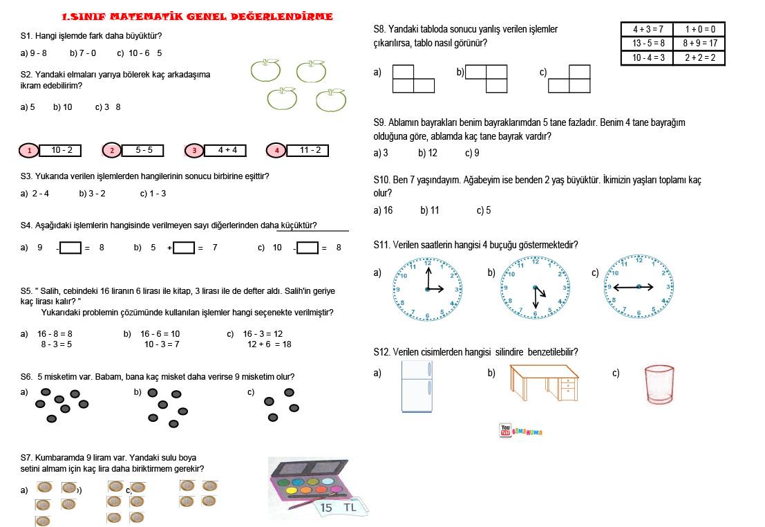 1.Sınıf Matematik Genel Değerlendirme Testi