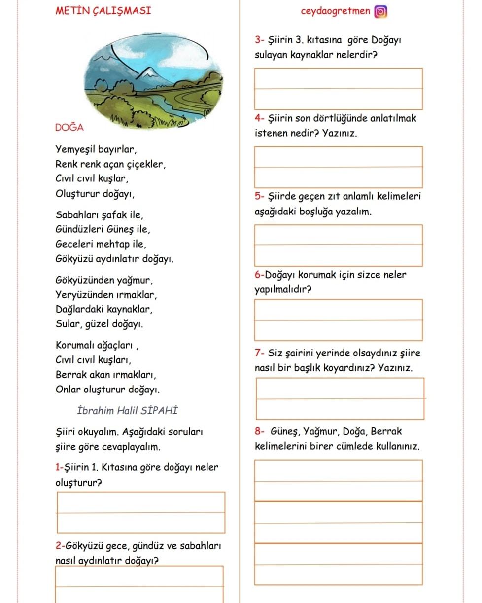 3.sınıf Türkçe Metin Çalışması