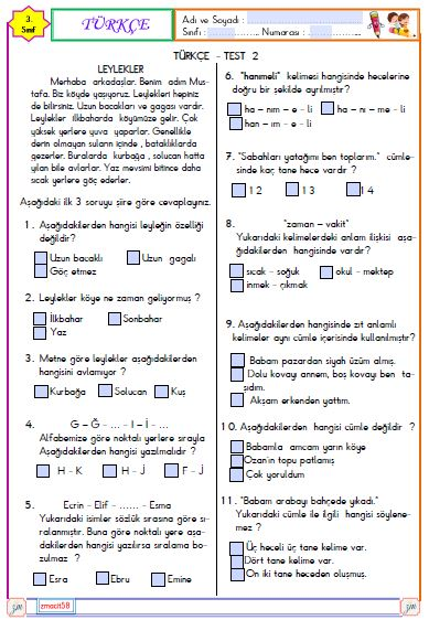 Türkçe - Test 2 (Etkileşimli)