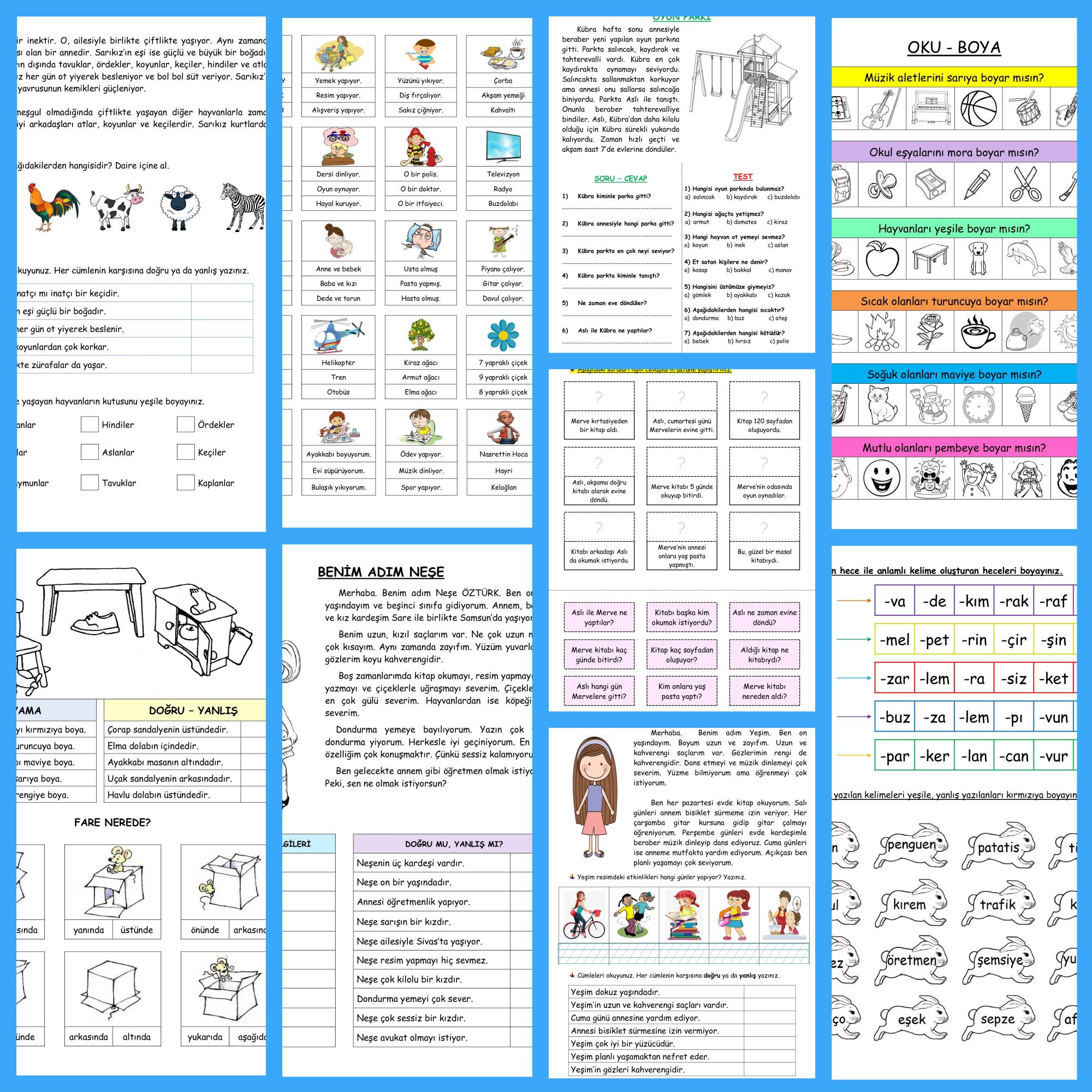 22 Sayfa Okuma Anlama Etkinliklerim
