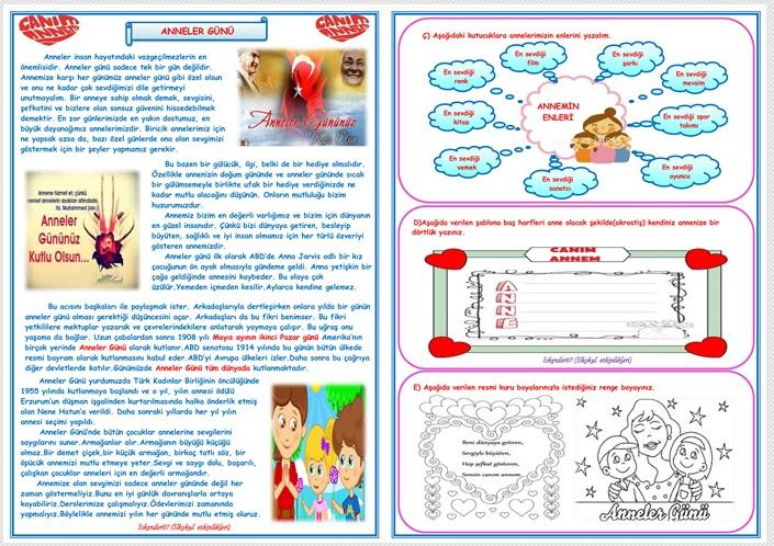 ANNELER GÜNÜ OKUMA ANLAMA VE ETKİNLİK ÇALIŞMASI  (3 SAYFA)