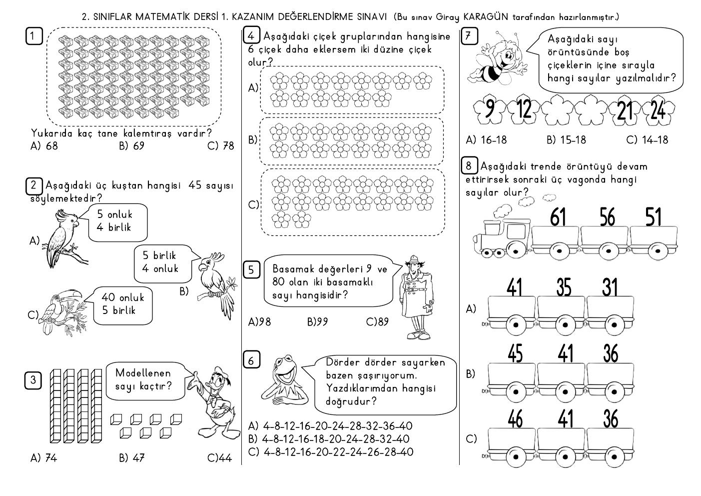 2. Sınıf Matematik Dersi 1. Kazanım Değerlendirme Sınavı