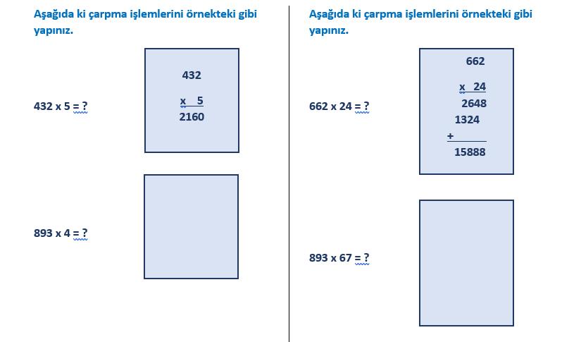 5 ile kısa yoldan çarpma işlemi etkinliği (4. sınıf)