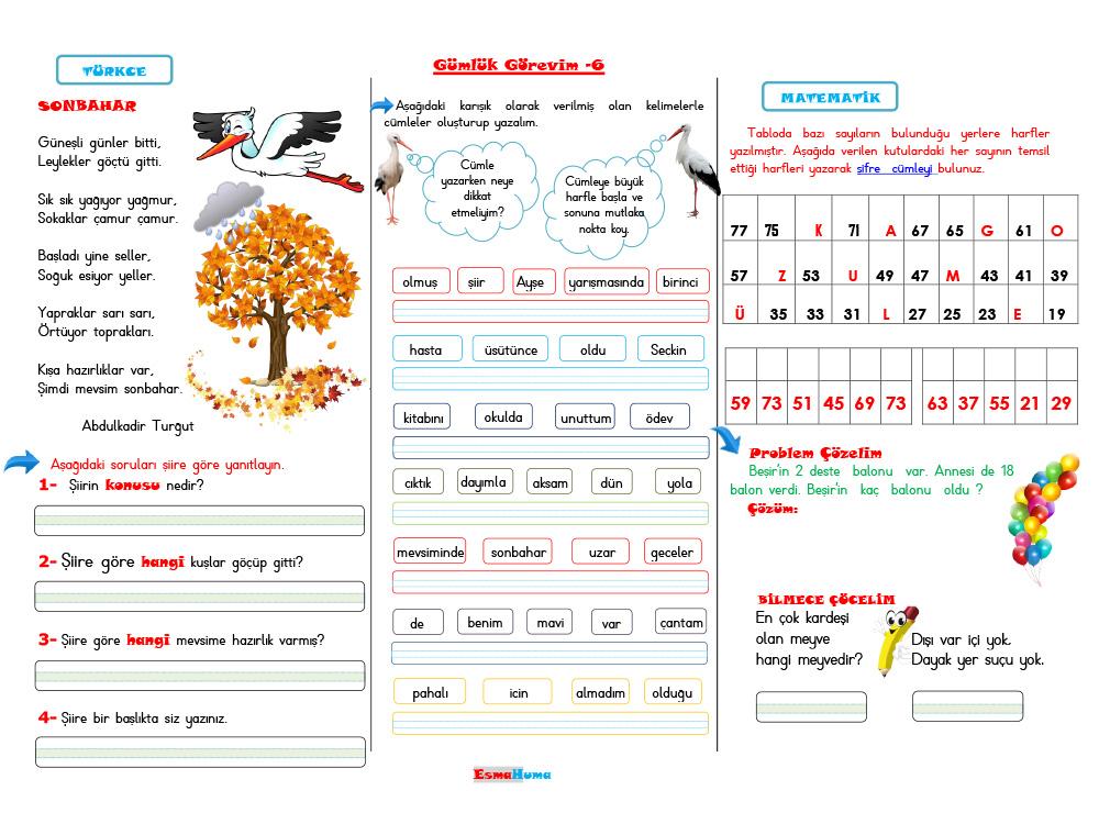 Günlük Görevim-6 (Türkçe-Matematik) Uzaktan Eğitim (Etkileşimli)