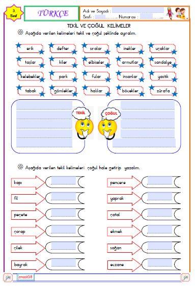 Türkçe -  Tekil ve Çoğul Kelimeler ( Etkileşimli)