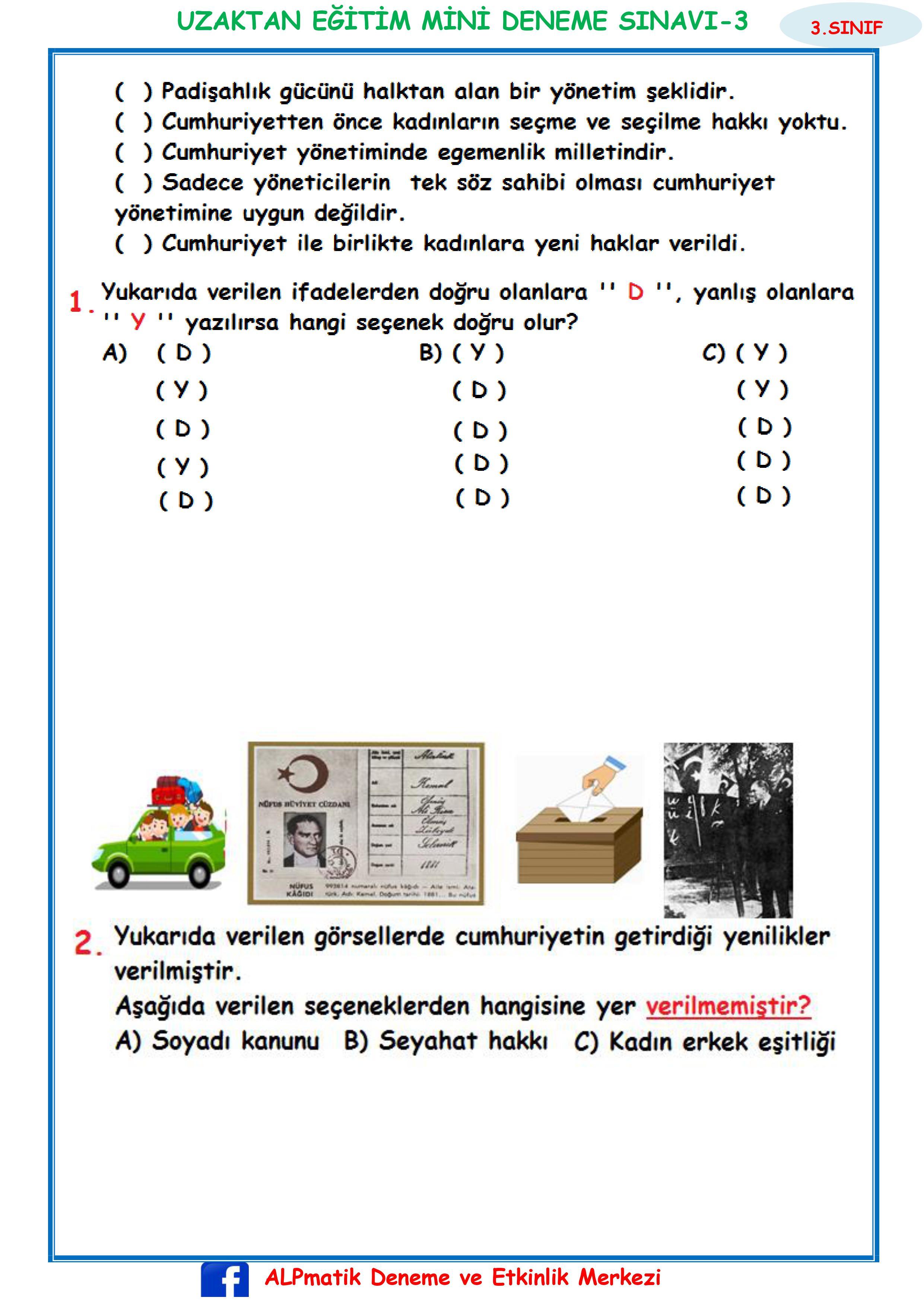 3.SINIF HAFTALIK MİNİ DENEME SINAVI-3( BECERİ TEMELLİ)