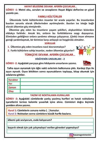 Hayat Bilgisi - Türkçe  Devam