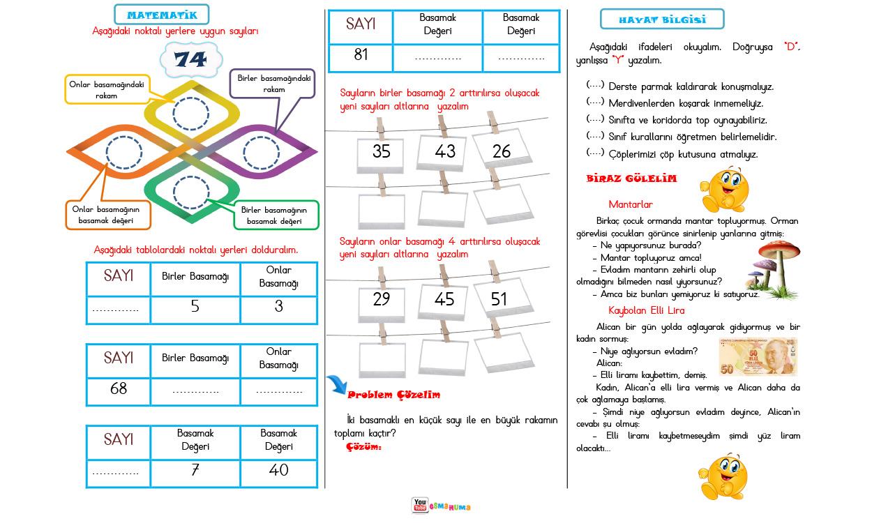 Günlük Görevim-4 (Türkçe-Matematik-Hayat Bilgisi) 2 sayfa