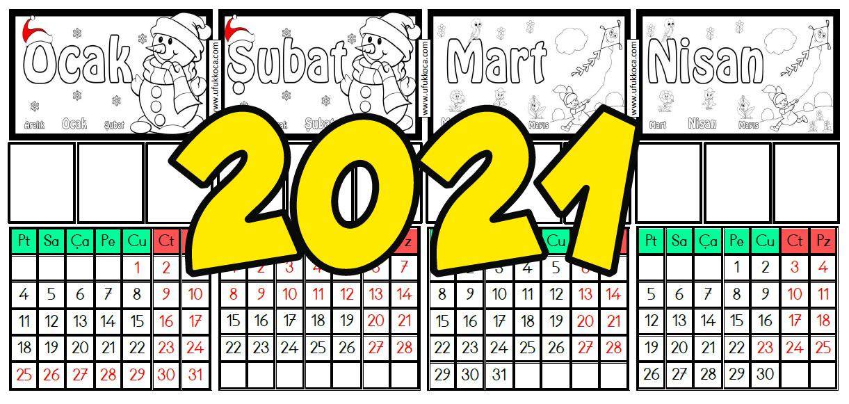 2021 Masaüstü Takvim Öğrenci Fotoğraflı ve Resimli Boyamalı Süper !