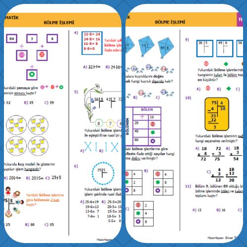 3. Sınıf Matematik Bölme İşlemi Mini test 1