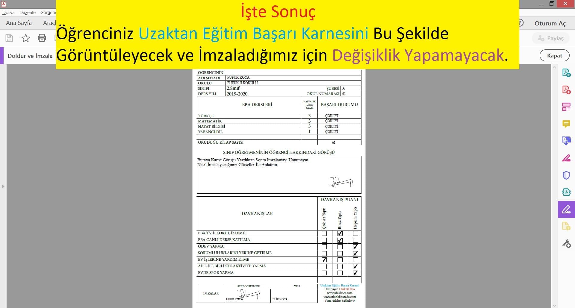 UZAKTAN EĞİTİM BAŞARI KARNESİ - 3.SINIF