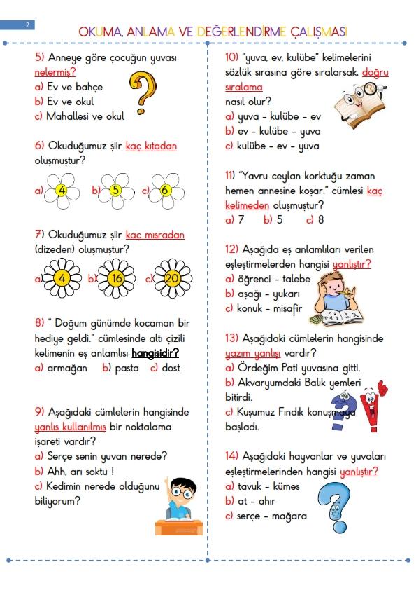 Okuma Anlama Çalışması - YUVAMIZ