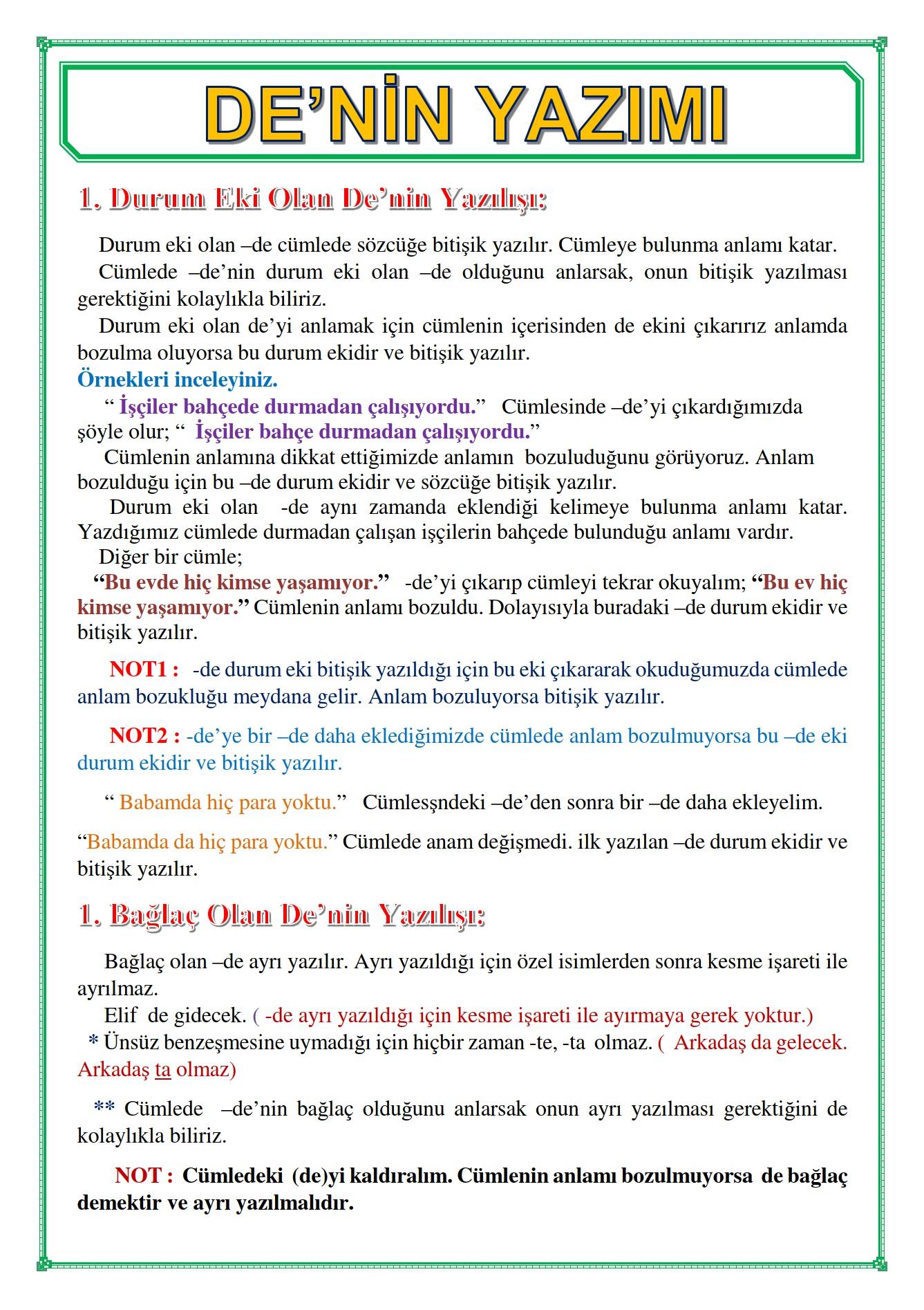DE'NİN YAZIMI_KONU ANLATIMI & ETKİNLİK