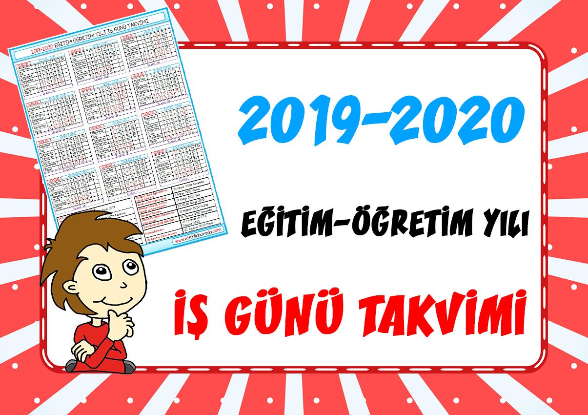 2019-2020 Eğitim Öğretim Yılı İş Günü Takvimi