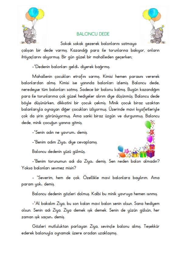 Okuma Anlama Çalışması 2 - Baloncu Dede