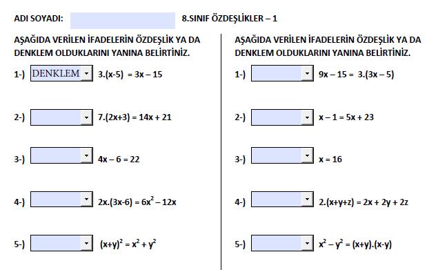 ETKİLEŞİMLİ ÖZDEŞLİKLER - 1