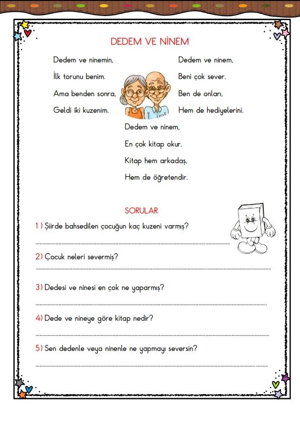 1.Sınıf Okuma Anlama Çalışması -3-