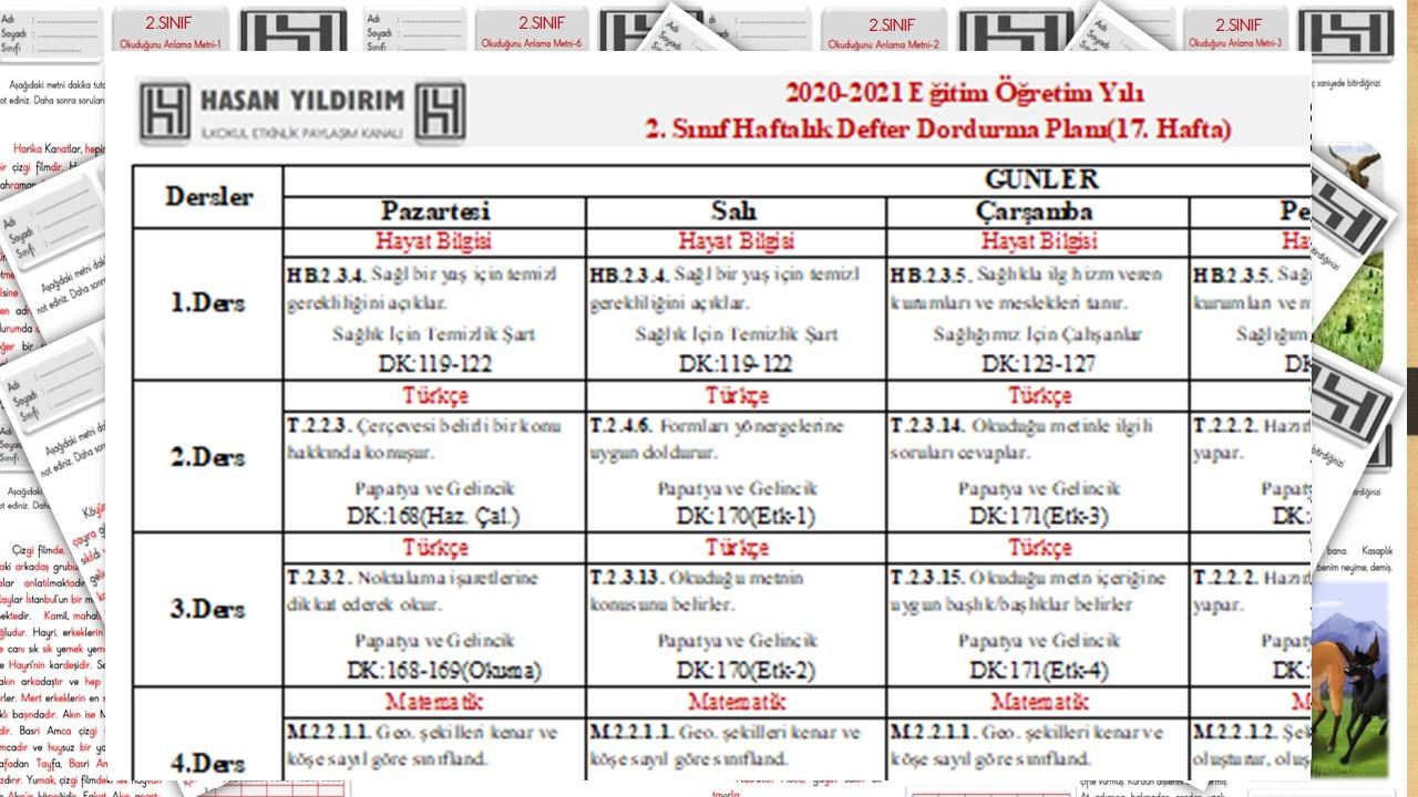2.Sınıf 17.Hafta(18-22 Ocak) Planı(Tek Sayfa Tüm Hafta)