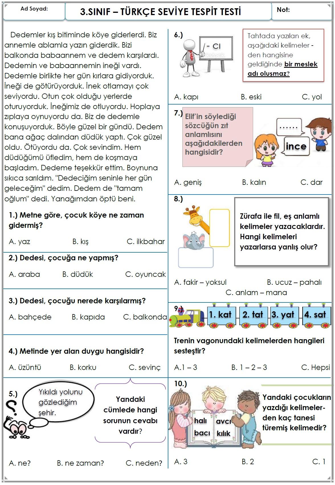 TÜRKÇE DEĞERLENDİRME TESTİ-2
