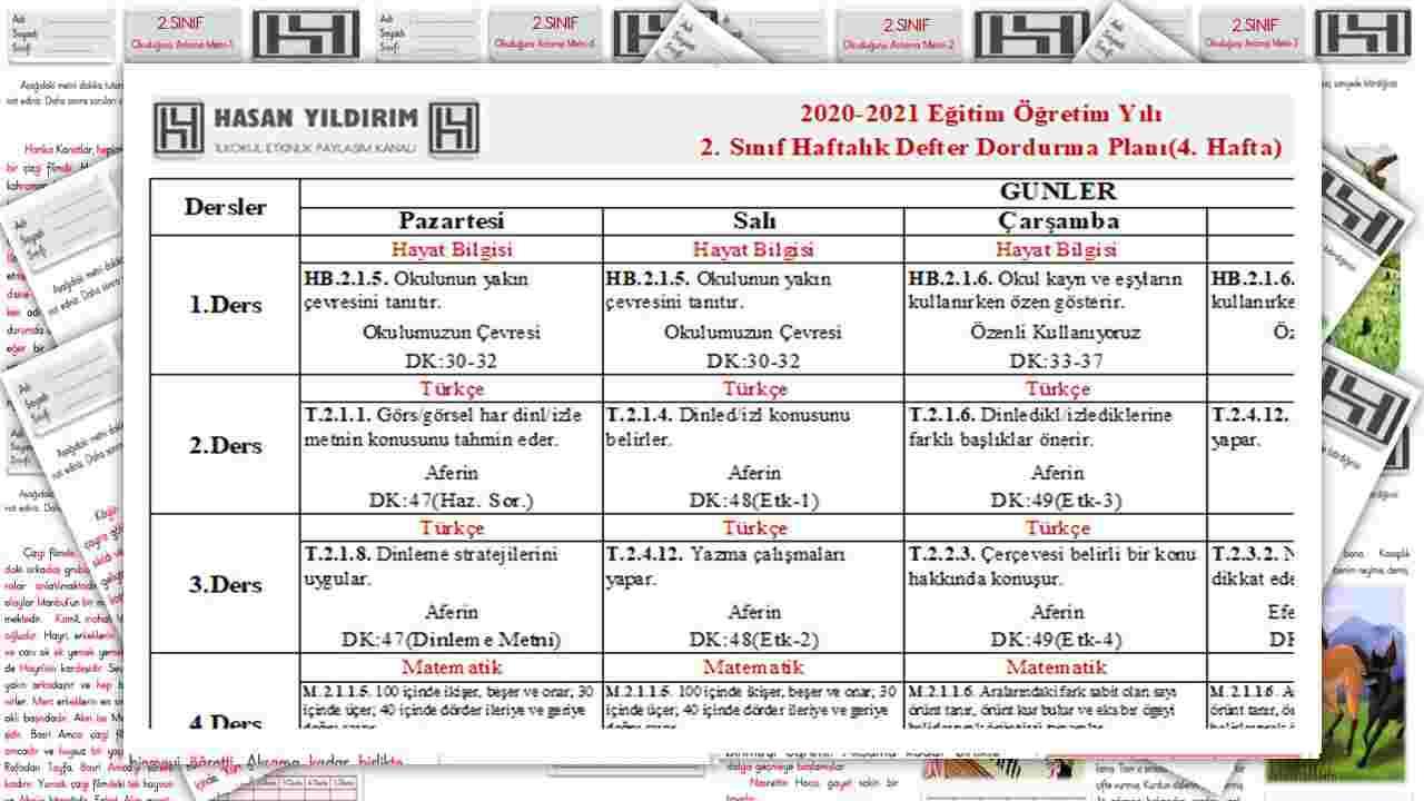 2.Sınıf 4.Hafta Planı(Tek Sayfa Tüm Hafta İşinizi Görecektir)