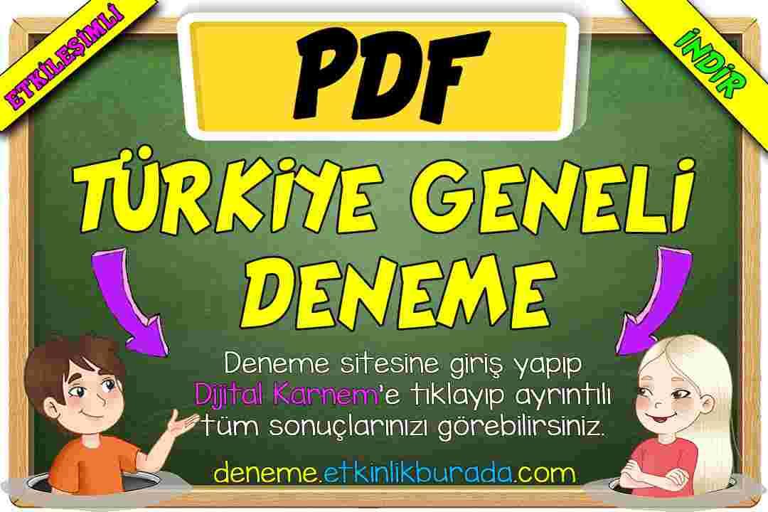 3.SINIF TÜRKİYE GENELİ ONLİNE DENEME SORULARI PDF