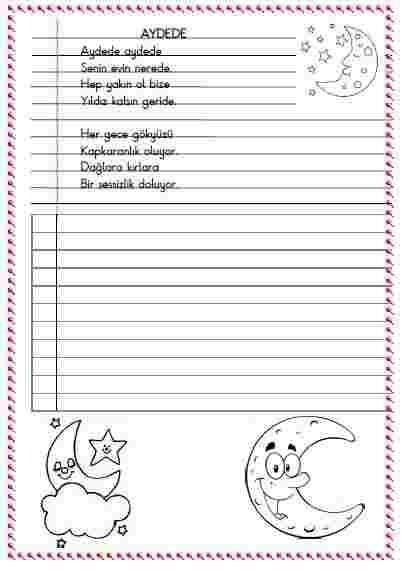 Türkçe - Çizgili satıra yazma ve okuma etkinliği  4