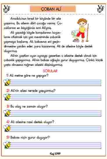 ETKİLEŞİMLİ PDF- OKUMA ANLAMA METNİ ÇOBAN ALİ
