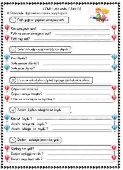Türkçe - Anlama ve cümle oluşturma etkinlikleri  7