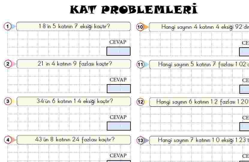 KAT PROBLEMLERİ(CEVAP ETKİLEŞİMLİ)