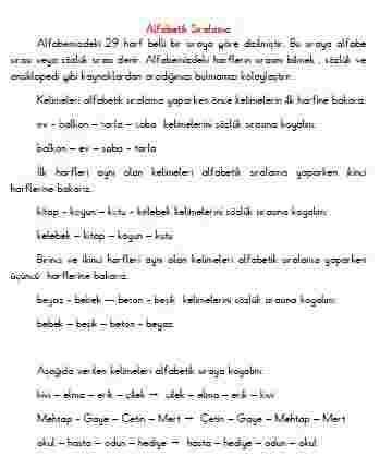 3. Sınıf Türkçe - Alfabetik Sıra  (konu anlatımı)